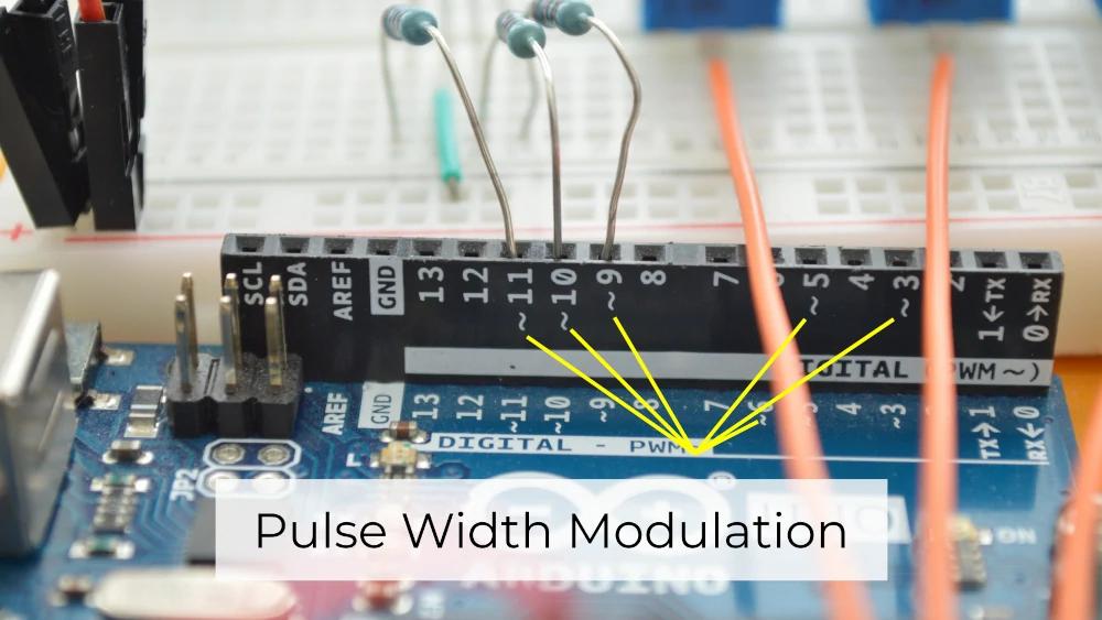 Arduino Uno digital pins with pulse width modulation (PWM)