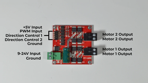 Dual motor driver for a brushed DC motor with terminals labeled