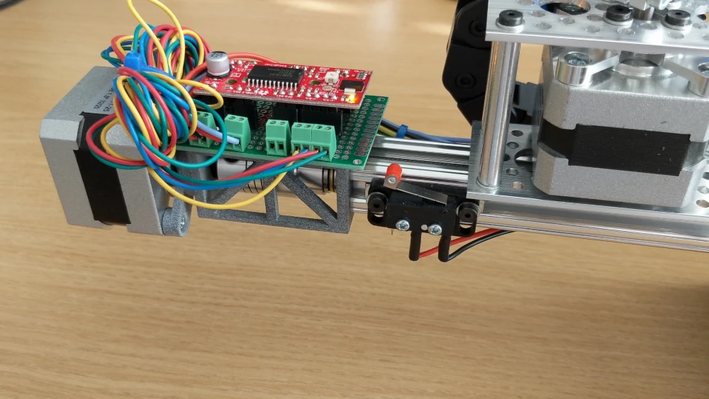 stepper motor driver and 3D printed part assembly
