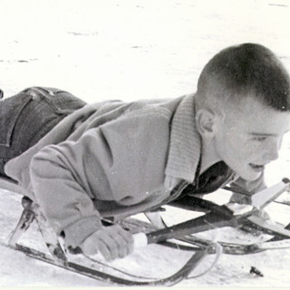 Me on an old fashioned sled