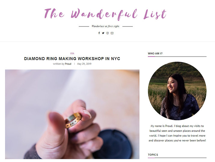 Press: The Wonderful List(Blog) Diamomd Ring Making Class