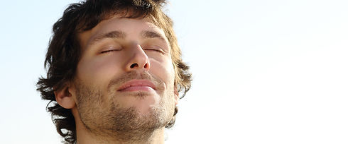 Man breathing deeply