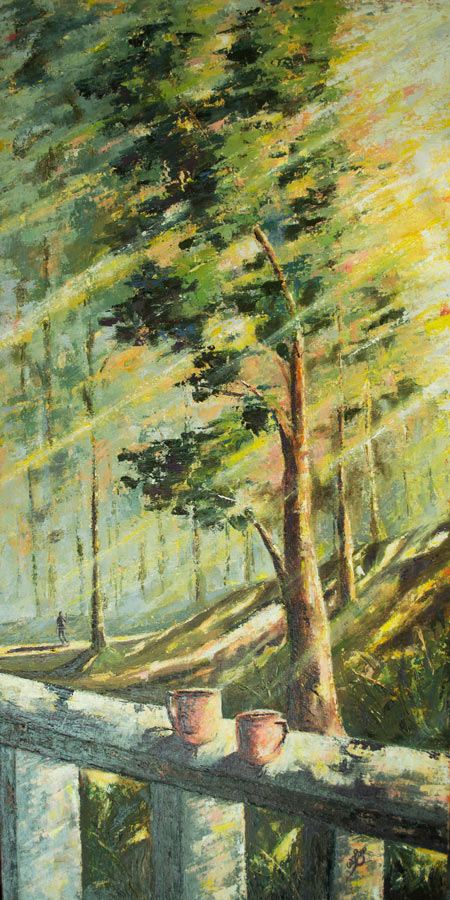 tall landscape painting of tall trees and sunlight, bright and peaceful painting