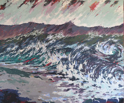 Surf and wave painting with texture