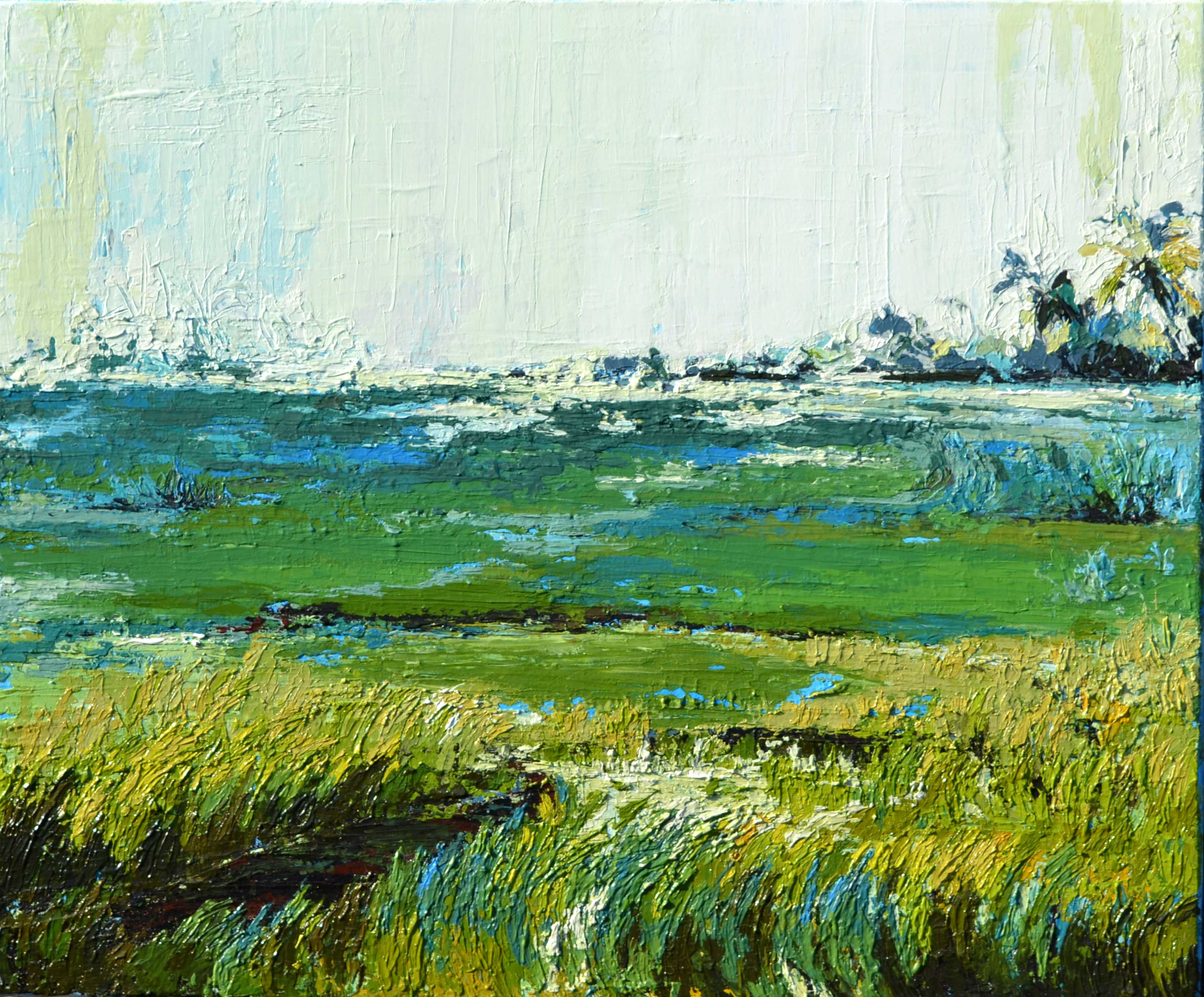 abstract landscape painting with coconut trees and  rice fields, painting on sale