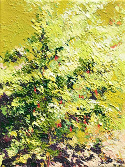 Small tree painting in sunlight. textured painting. yellow. bright and sunny