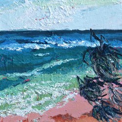 beach painting with mild colours