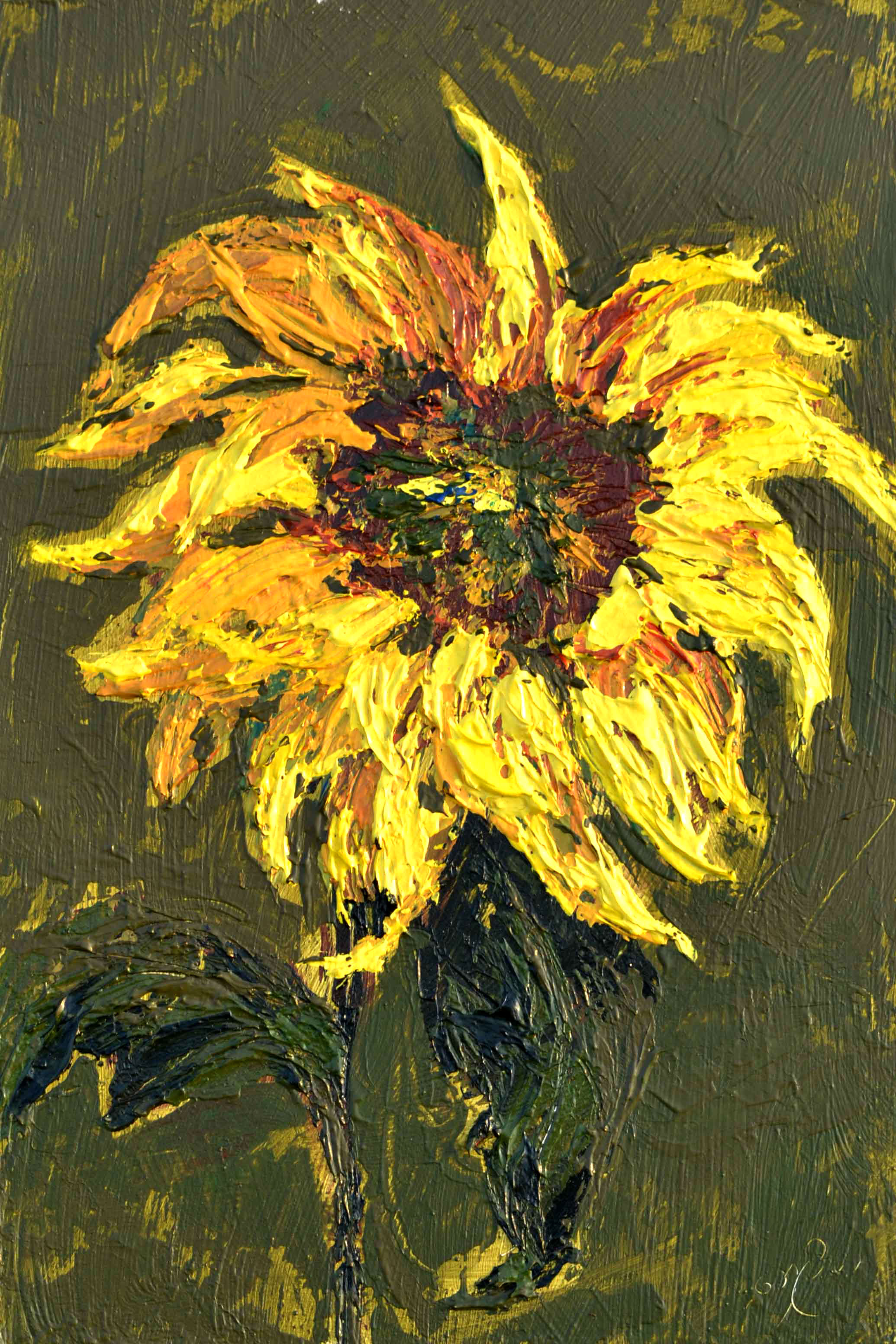 sunflower painting, thick texture, yellow flower