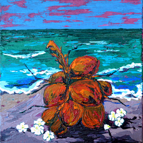 beach painting with king coconuts, painting with tropical vibe, srilankan beaches