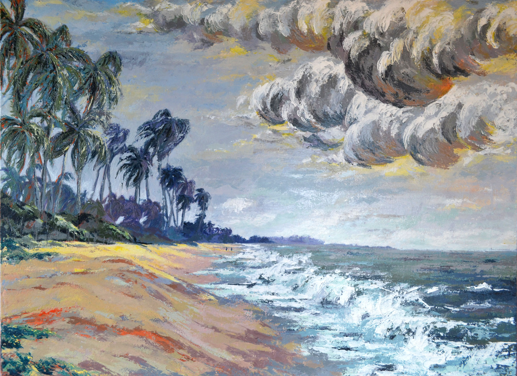 seascape with coconut trees and beach, srilankan beach
