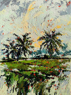 Painting on sale, Small landscape painting with coconut palms and rice fields, texture and gesture p