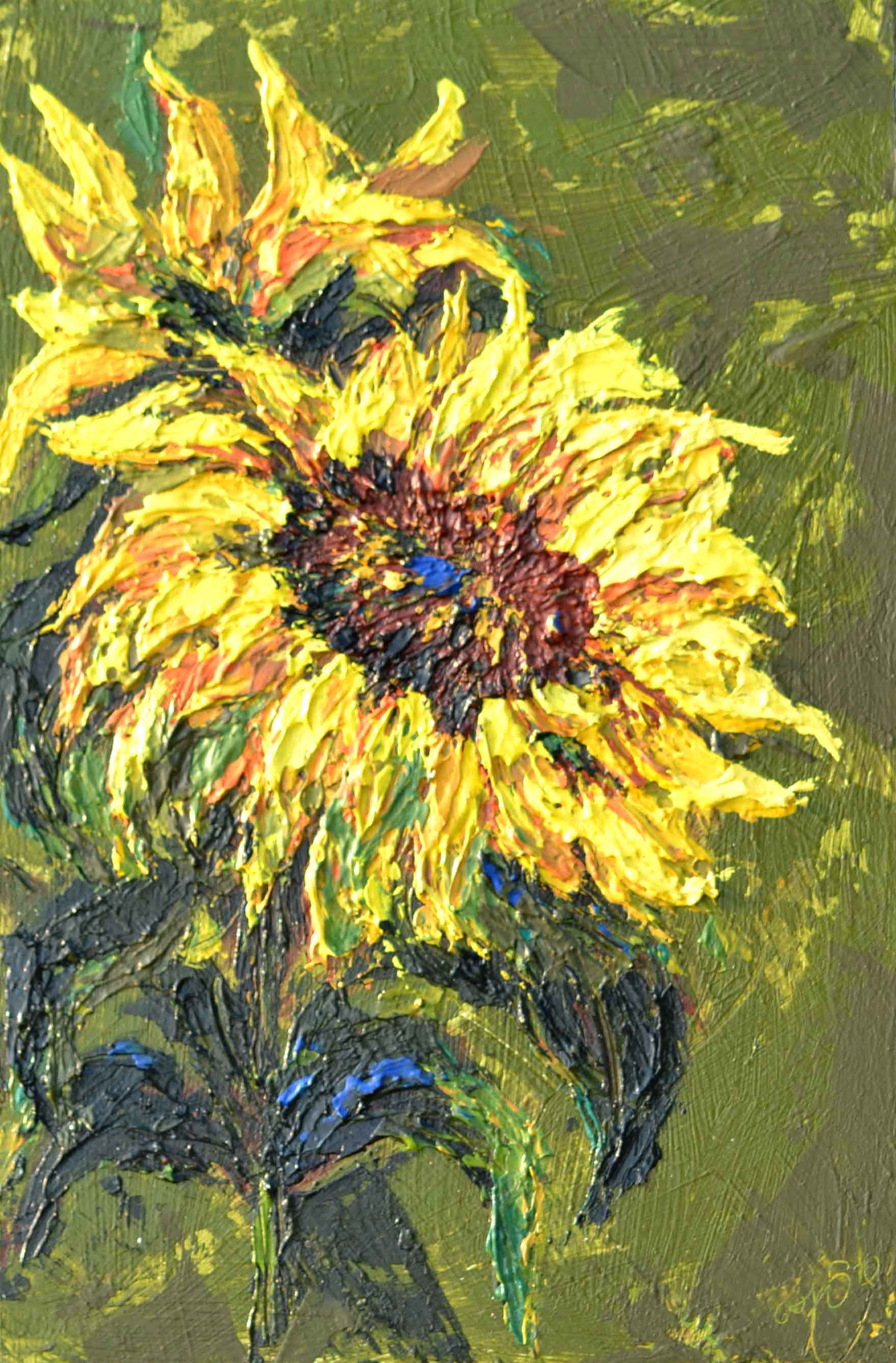sunflower painting, yellow flower , floral, thick texture