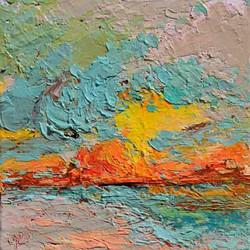 Small beach painting at sun set