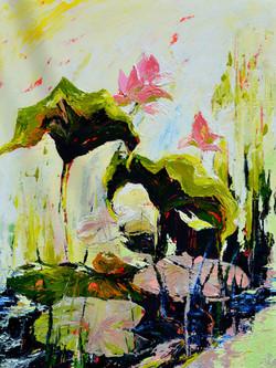 Lotus pond painting . art on sale Srilanka