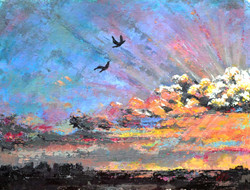 painting of the sky with beautiful colours, cloud painting, flying birds