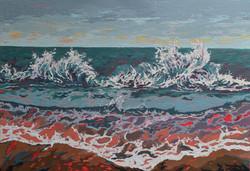 Surf painting, crashing waves, sri lanka