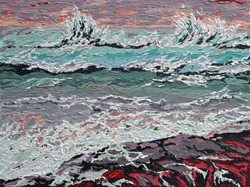 Small sea painting with texture. On Sale
