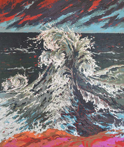 Ocean wave painting with texture