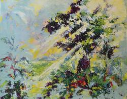 sunny tree painting abstract