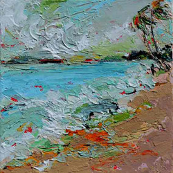 Small beach painting with mild colours