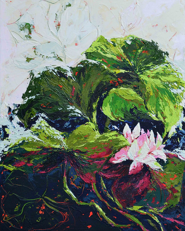 I've used bold colours and expressive knife strokes to create a lasting visual impression. This Abstract landscape painting with lotus leaves is up for sale. Painting for sale. Sri Lanka