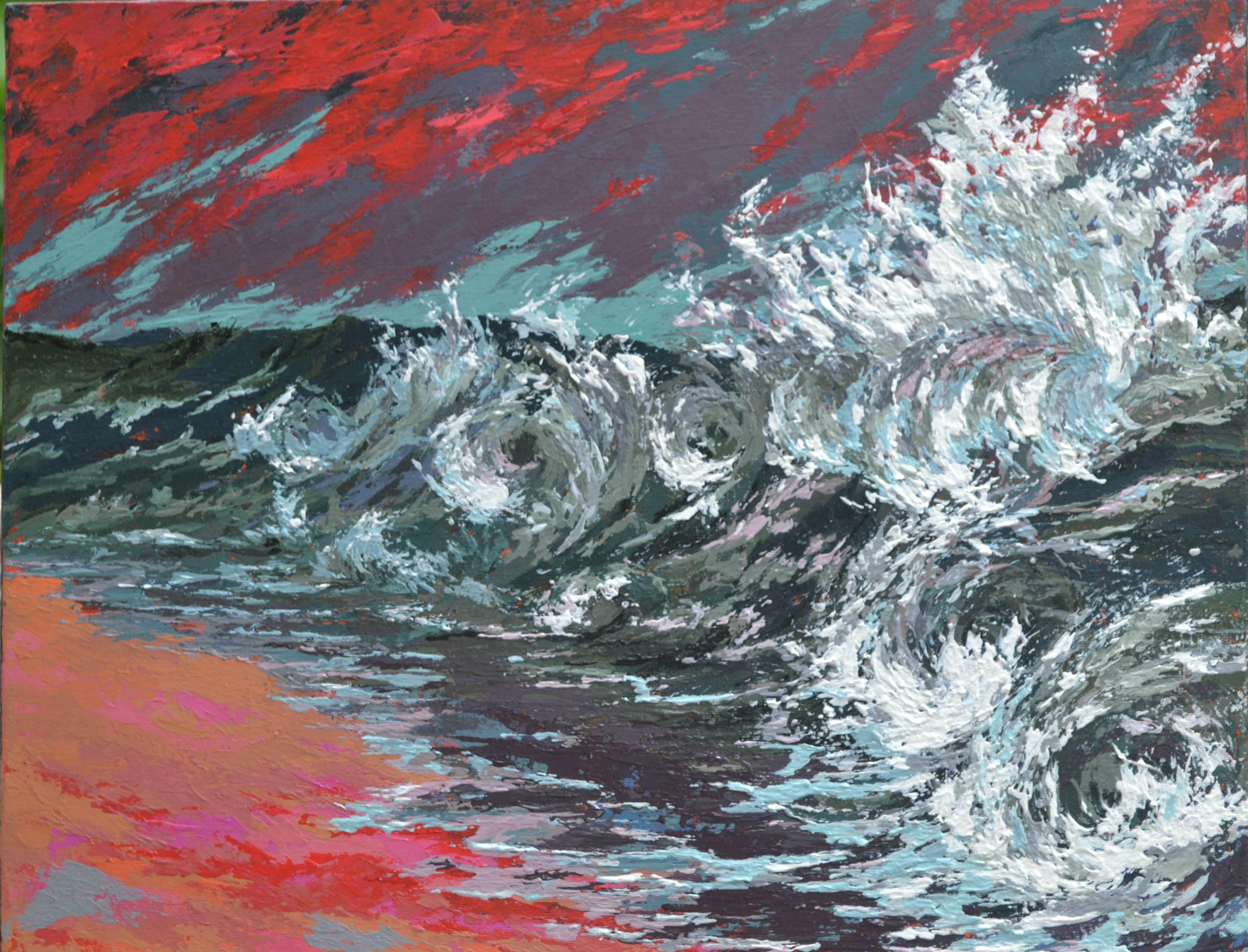 Seascape art with crashing waves