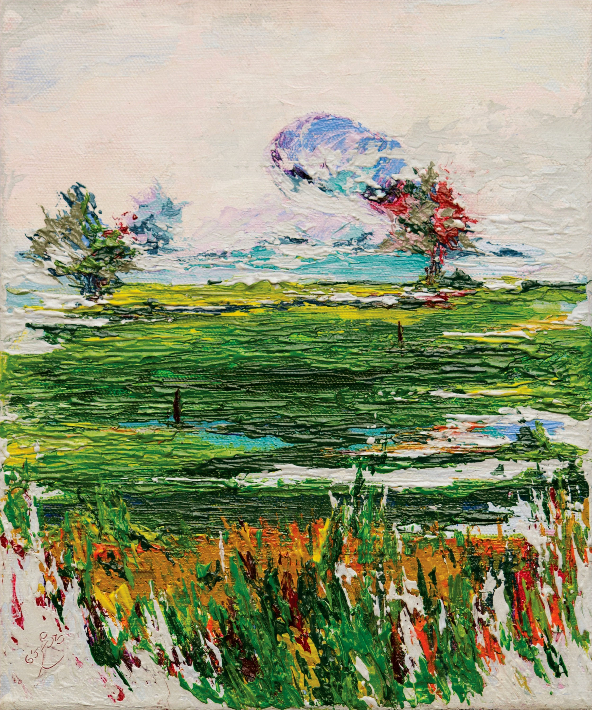 small landscape painting of rice fields on sri lanka, on sale