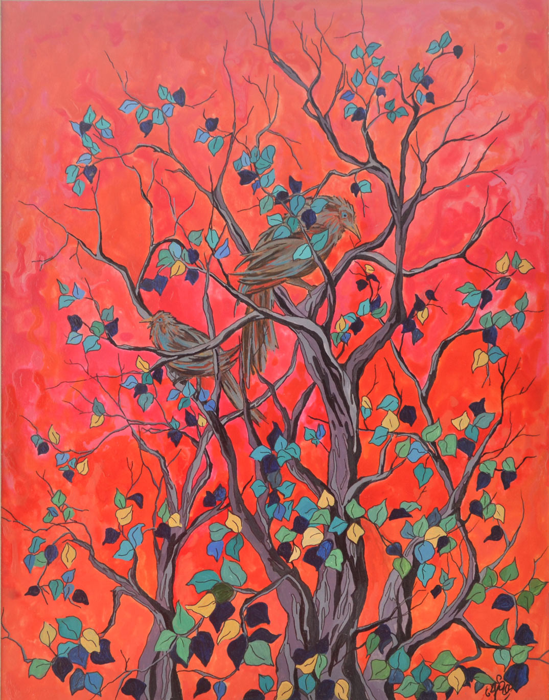 bird painting with red background, art for sale , sri lanka