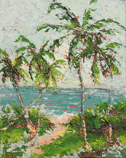 Small seascape painting with palm trees