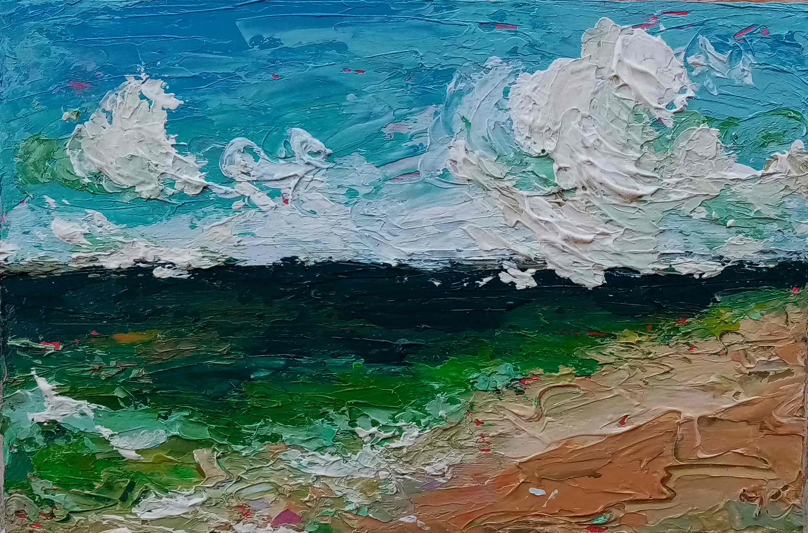 Small abstract beach painting