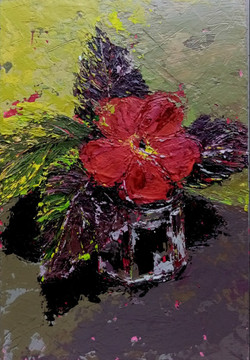 Still life painting of small red flower