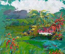 abstract landscape of cocpnut palms and rice fields in sri lanka, sold