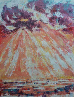 skyscape artwork with sunrays and clouds