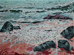 Small seascape painting with texture on sale