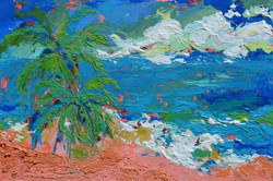 Small Beach painting with coconut tree