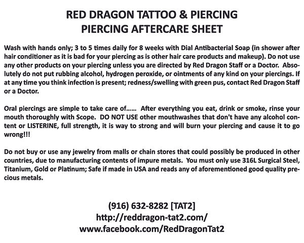 Printable piercing aftercare to heal, fix, care-for piercings.