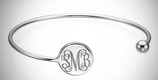 Bangle Monogram Bracelet Adjustable
