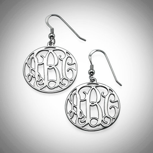 monogram mm earrings picture of letter script