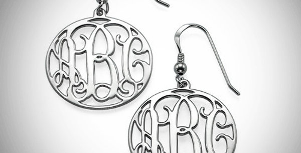 Round Monogram Earrings Hanging