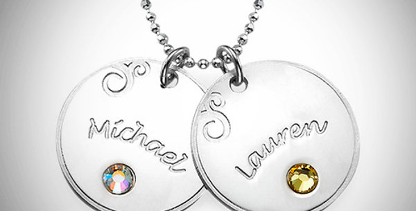Name Discs with Birthstone and Swirl