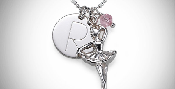 Ballerina and Initial Pendant for Kids