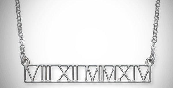 Bar Pendant Cutout Roman Numerals