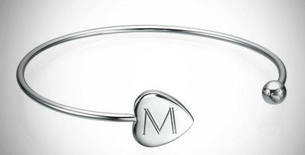 Bangle Initial Bracelet Adjustable
