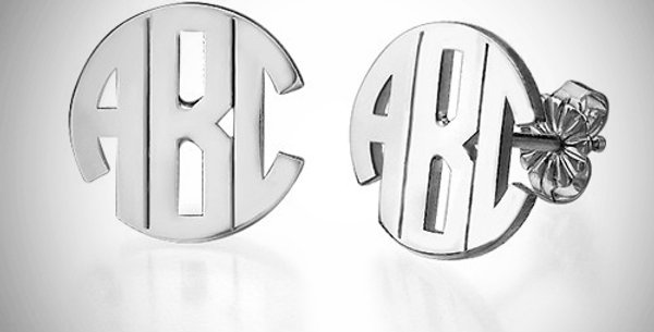 Round Block Style Monogram Earrings Stud