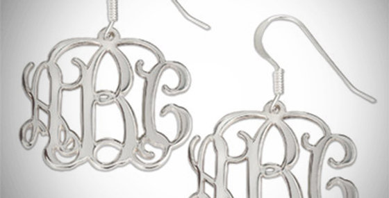 Monogram Earrings Hanging