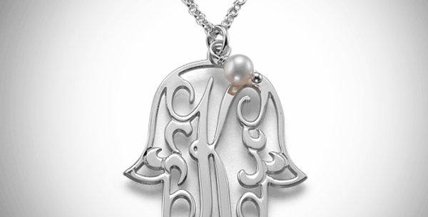 Hamsa Initial Pendant with Birthstone