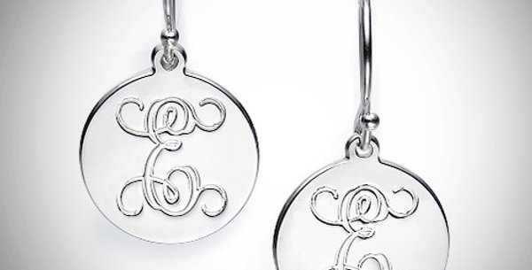 Initial Disc Earrings Hanging
