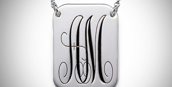Double Initial Bar Pendant