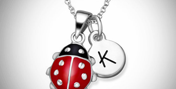 Initial & Lady Bug Charm Pendants for Kids