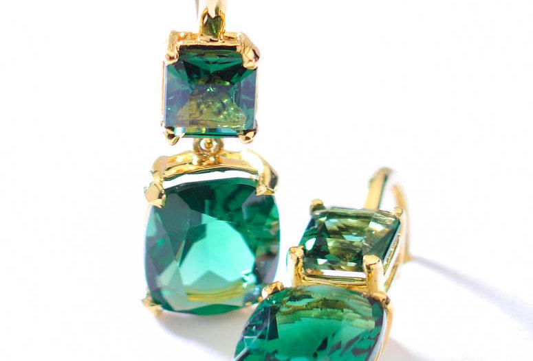 Double Rectangle Gemstone Earrings
